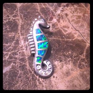 Jewelry - 925 Sterling Seahorse Pendant w/ opal(chain extra)
